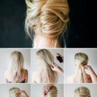 Chignon banane cheveux mi long