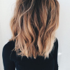 Carré long balayage blond